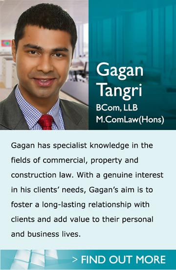 Gagan Tangri BCom, LLB - Gagan is an asset to the Franklin Law property law team because of his knowledge of commercial, property and construction matters. He is soon to graduate with a Master of Laws, the knowledge from which he looks forward to applying to assist Franklin Law clients with in their property portfolio decisions.